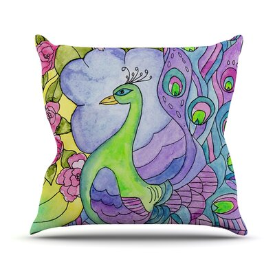 Stained Glass Watercolor Peacock Outdoor Throw Pillow
