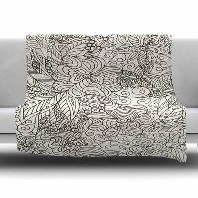 Zentangle Garden by Rosie Brown Fleece Blanket Size: 80 L x 60 W