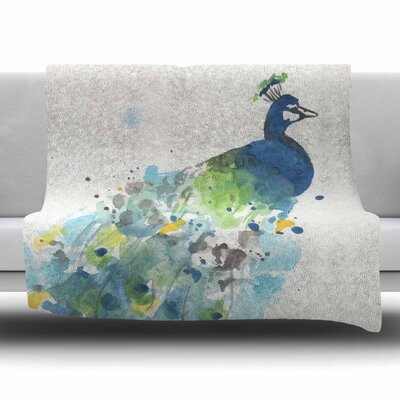 Abstract Watercolor Peacock by Rebecca Bender Fleece Blanket Size: 80 L x 60 W