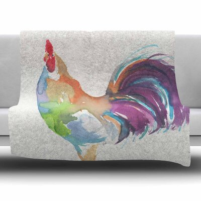 Watercolor Rooster by Rebecca Bender Fleece Blanket Size: 80 L x 60 W