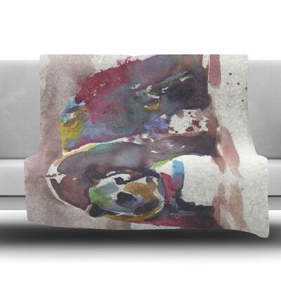 Grizzly Bear Watercolor by Rebecca Bender Fleece Blanket Size: 80 L x 60 W