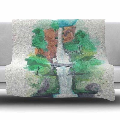 Multnomah Falls Watercolor by Rebecca Bender Fleece Blanket Size: 80 L x 60 W