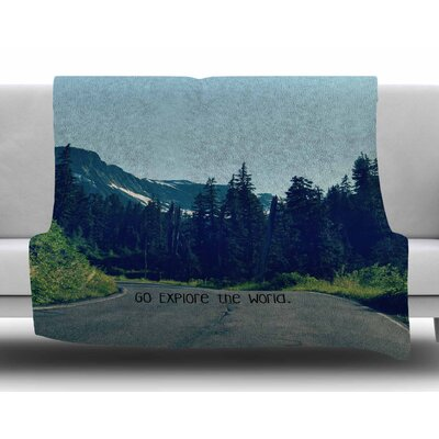 Go Explore the World by Robin Dickinson Fleece Blanket Size: 80 L x 60 W