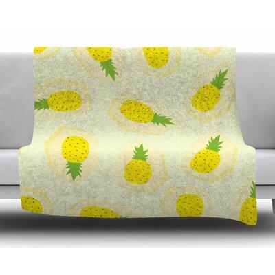Pineapple by Strawberringo Fleece Blanket Size: 80 L x 60 W