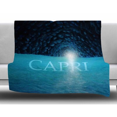 The Blue Grotto Of Capri by Theresa Giolzetti Fleece Blanket Size: 80 L x 60 W