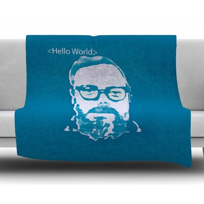 <Hello World> by Theresa Giolzetti Fleece Blanket Size: 80 L x 60 W