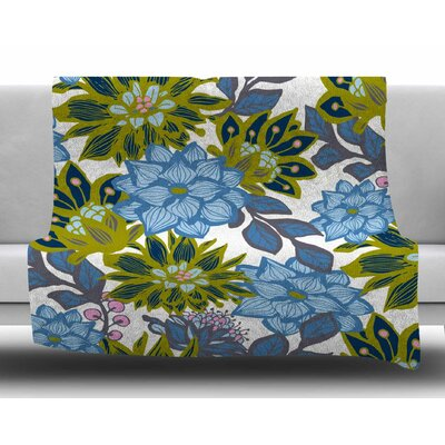 Dahlias by Amy Reber Fleece Blanket Size: 80 L x 60 W