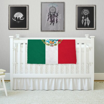 Mexico Flag And Coat Of Arms by Bruce Stanfield Fleece Blanket Size: 80 L x 60 W