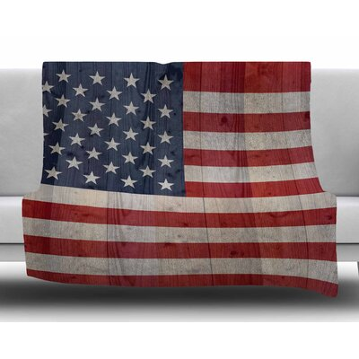 USA Flag On Spruce by Bruce Stanfield Fleece Blanket Size: 80 L x 60 W