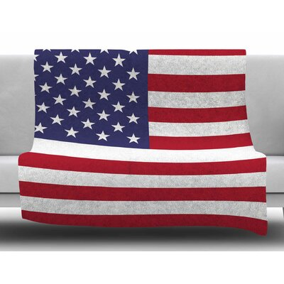 Flag of USA by Bruce Stanfield Fleece Blanket Size: 80 L x 60 W