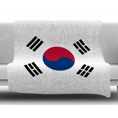 Flag of Korea by Bruce Stanfield Fleece Blanket Size: 80 L x 60 W