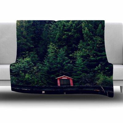 Red in Woods by Robin Dickinson Fleece Blanket Size: 80 L x 60 W