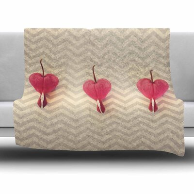 Heart With Chevrons by Robin Dickinson Fleece Blanket Size: 80 L x 60 W