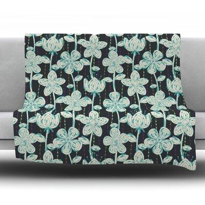 My Grey Spotted Flowers by Julia Grifol Fleece Blanket Size: 80 L x 60 W