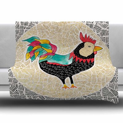 Cuckaroo Rooster by Pom Graphic Design Fleece Blanket Size: 80 L x 60 W