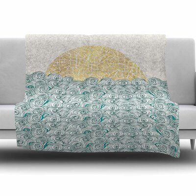 Sunny Tribal Seas II by Pom Graphic Design Fleece Blanket Size: 80 L x 60 W