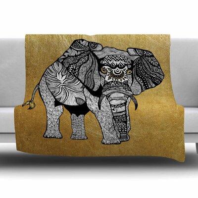 Golden Elephant by Pom Graphic Design Fleece Blanket Size: 80 L x 60 W