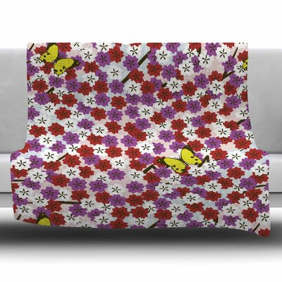 Cherry Blossom And Butterfly by Setsu Egawa Fleece Blanket Size: 80 L x 60 W