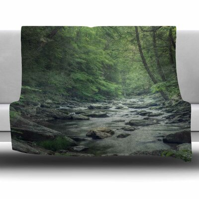 Misty Forest Stream by Suzanne Harford Fleece Blanket Size: 40 L x 30 W