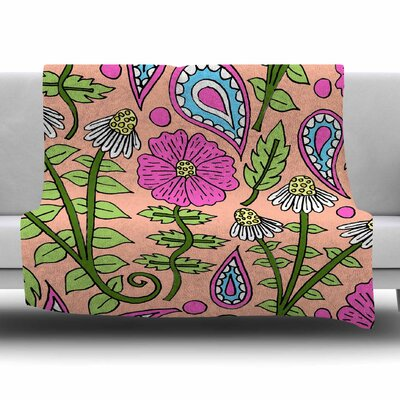 Peach Floral Paisley by Sarah Oelerich Fleece Blanket Size: 80'' L x 60'' W