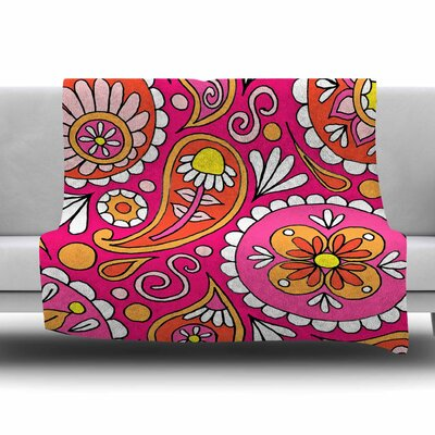 Paisley Pop by Sarah Oelerich Fleece Blanket Size: 80'' L x 60'' W