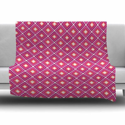 Bright Squares by Nandita Singh Fleece Blanket Color: Pink