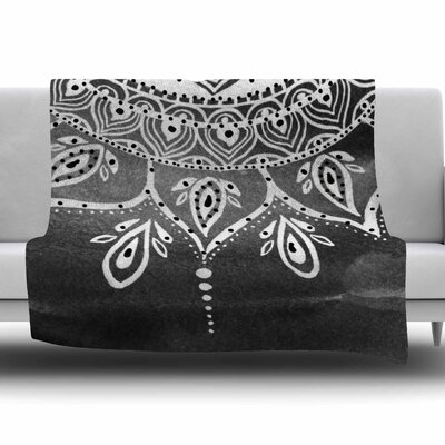 Mandala by Li Zamperini Fleece Blanket Color: Black/White
