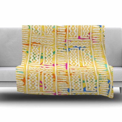 Lines And Zigzags by Dan Sekanwagi Fleece Blanket Color: Blue