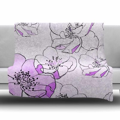 Painted Wild Roses by Alison Coxon Fleece Blanket Color: Purple