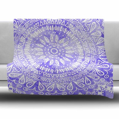 Boho Flower Mandala by Nika Martinez Fleece Blanket Color: Teal