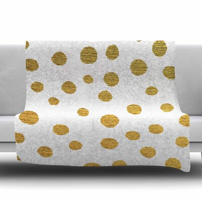 Golden Dots by Nika Martinez Fleece Blanket Color: White