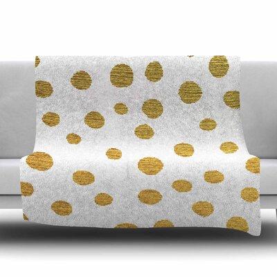 Golden Dots by Nika Martinez Fleece Blanket Color: Black