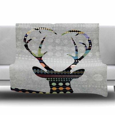 Pop Deer by Angelo Carantola Fleece Blanket Size: 80 L x 60 W