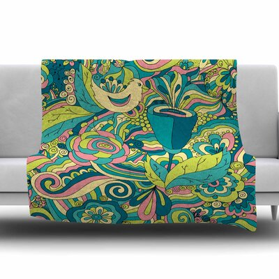 Birds in Garden by Alisa Drukman Fleece Blanket Color: Blue/Green