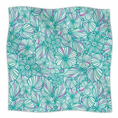 My Turquoise Flowers by Julia Grifol Fleece Blanket Size: 80 L x 60 W
