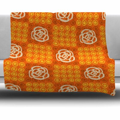 Polka Dot Rose by Jane Smith Fleece Blanket Size: 80 L x 60 W