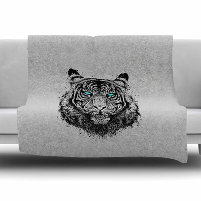 Tiger Gaze by BarmalisiRTB Fleece Blanket Size: 80 L x 60 W