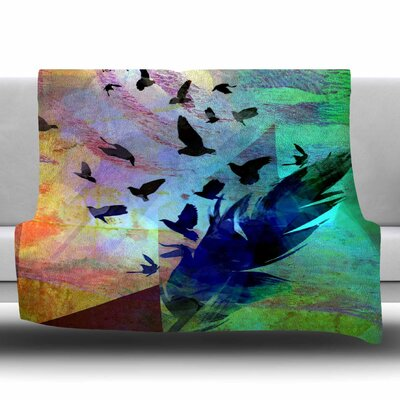 NOT QUITE BIRDS OF A FEATHER by AlyZen Moonshadow Fleece Blanket Size: 80 L x 60 W