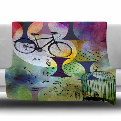 BIKE TO THE MOON by AlyZen Moonshadow Fleece Blanket Size: 80 L x 60 W