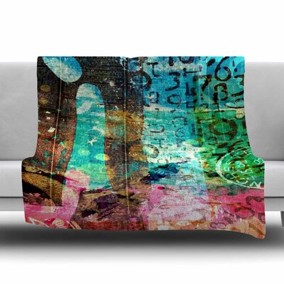 GREEN RED ABSTRACT by AlyZen Moonshadow Fleece Blanket Size: 80 L x 60 W
