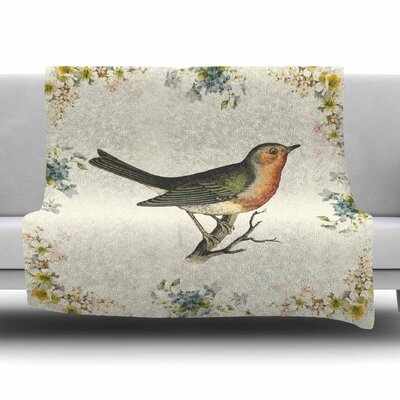 Vintage Bird 3 by NL Designs Fleece Blanket Size: 80 L x 60 W