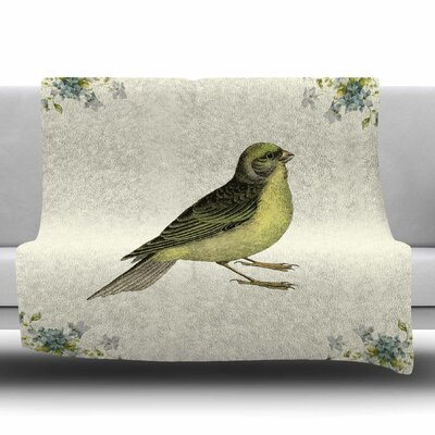Vintage Bird 2 by NL Designs Fleece Blanket Size: 80 L x 60 W