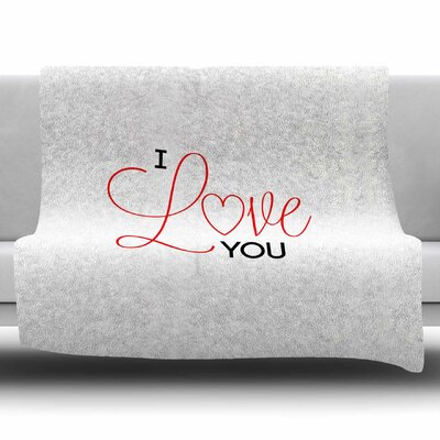 I Love You by NL Designs Fleece Blanket Size: 80 L x 60 W