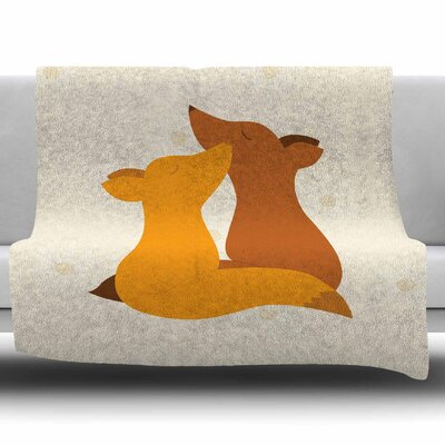 Foxy Love by NL Designs Fleece Blanket Size: 80 L x 60 W