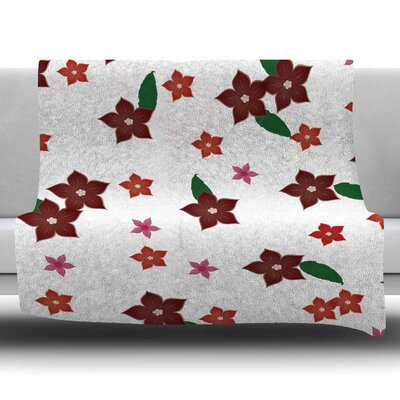 Holiday Floral by NL Designs Fleece Blanket Size: 80 L x 60 W
