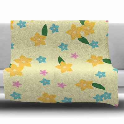 Tropical Flowers by NL Designs Fleece Blanket Size: 80 L x 60 W
