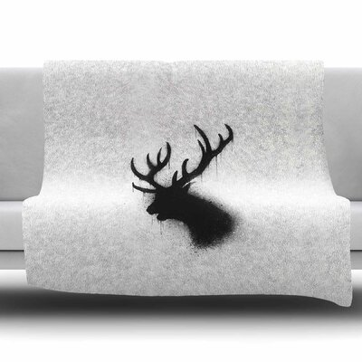 Dark Deer by BarmalisiRTB Fleece Blanket Size: 80 L x 60 W