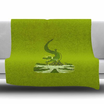 Breakdance Crocodile by BarmalisiRTB Fleece Blanket Size: 80 L x 60 W