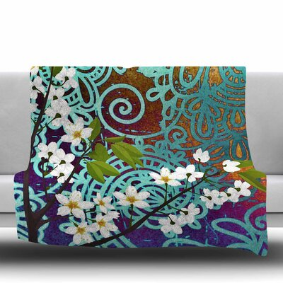 BIRD AND BLOSSOM by AlyZen Moonshadow Fleece Blanket Size: 80 L x 60 W