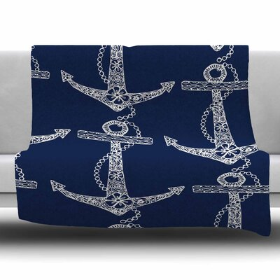 Floral Anchors by Amy Reber Fleece Blanket Size: 80 L x 60 W